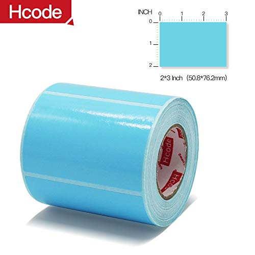 Hcode 2x3 Inch Permanent Adhesive Direct Thermal Labels【Water、Oil、Alcohol Resistant】 Multi-Purpose Labels Compatible with Direct Thermal Printer and Thermal Transfer Printer 400 Pcs Blue
