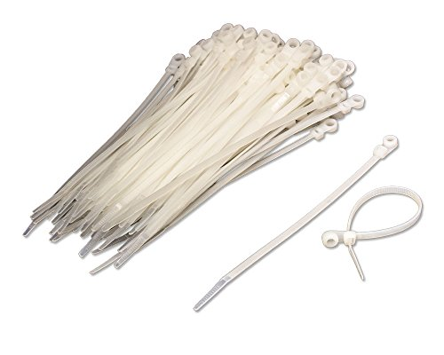 NavePoint 8 Inch Mount Head Screw Cable Wire Zip Tie 50 lbs Natural White 100 Pack Lot Pcs