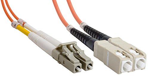 Amphenol FO-50DUALSCLC-001 SC-LC Duplex Multimode Fiber Optic Patch Cable 50125 OM2 OFNR 1 m 33 Orange