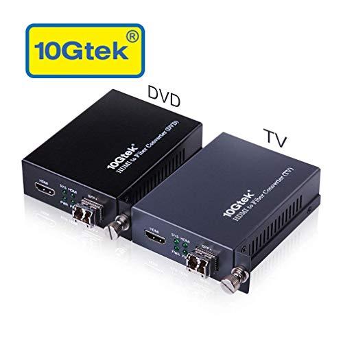 A Pair of HDMI to Fiber Optic Converter HDMI Extender with SFP Transceiver SFP LR Lite Module up to 2km Link Length Support HDMI 14a 4Kx2K30Hz