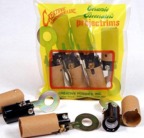 Creative Hobbies ELN839 Candelabra Base Socket with Flat Mounting Bracket Black Phenolic with Cardboard Insulator Covers Pack of 6 Sockets