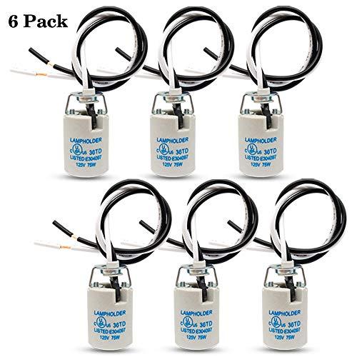 E12 Socket Ceramic Candelabra Socket E12 Bulb Lamp Holder Screw Base E12 Light Socket with 12 Inch Wire Lead for Halogen Incandescent LED Light Bulb 6-Pack E12