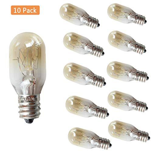 EBD Lighting 15W E12 Refrigerator Light Bulb 10 Pack 15W 110V 2700K Warm Whit Microwave Oven Bulb Salt Lamp Light Bulbs Mini Bulbs E12 Candelabra Socket Appliance Light Bulbs