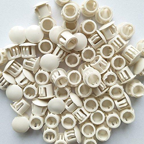 YEJI 25PCS 9mm035in Panel Plugs Hole Plugs Mounting Hole 85-90mm Plastic Flush Type Hole Plugs Home Furniture Fastener Plastic Pipe Choke Plug White Color
