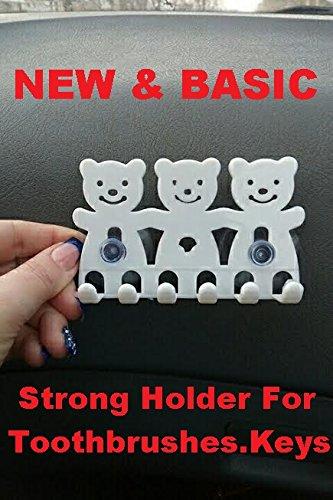 Toothbrush Holder With Extra Strong Suction Design  Shave Holder  Keys Holder EtcMulti Function Holder Double Power Suction Hook - White Bear
