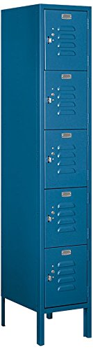 Salsbury Industries 65155BL-U Five Tier Box Style 12-Inch Wide 5-Feet High 15-Inch Deep Unassembled Standard Metal Locker Blue