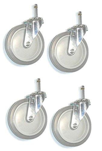 Four Stem Caster 5 Soft Rubber Wheel 716 Grip Ring Floor Safe