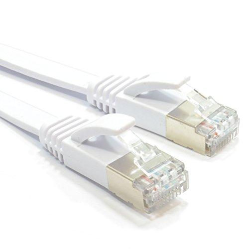 kenable FLAT CAT6A SSTP Shielded 500MHz Ethernet LAN Cable RJ45 2m ~6 feet WHITE