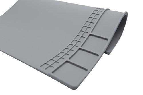 Large Soldering Mat Silicone work mat Heat ResistantHeat Mat for Heat Hun Cell Phone Repair Rework Surface Desk Electronics Repair Disassembly Welding Mat Gray color