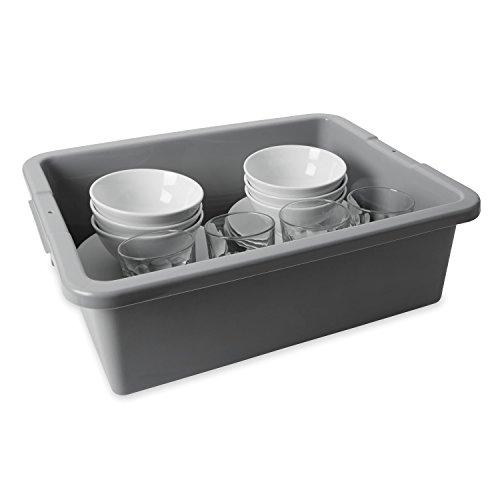 Rubbermaid 3351 7-18 gallon Capacity 21-12 Length x 17-18 Width x 7 Height Gray Color High-Density Polyethylene Undivided Bus and Utility Box 6 per Carton