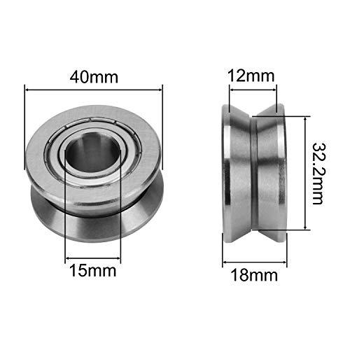 Letool 2pcs LV202-40 V Groove Pulley Ball Bearing LV 202-40 ZZ Track Roller Bearing LV202-40 for Linear Motion System