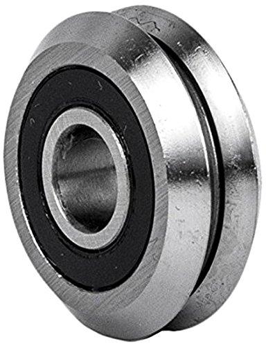 VXB Ball Bearings RM2-2RS V Groove Rubber Sealed Line Track Roller Bearing 38 0437 Width 0375 Bore Diameter Alloy Steel E52100 Pack of 8