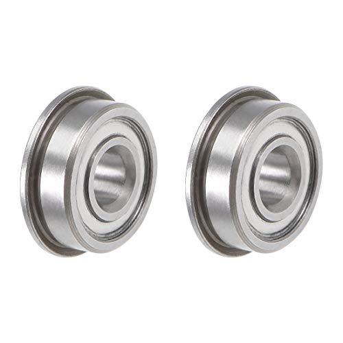 uxcell F605ZZ Flange Ball Bearing 5x14x5mm Shielded Chrome Bearings 2pcs