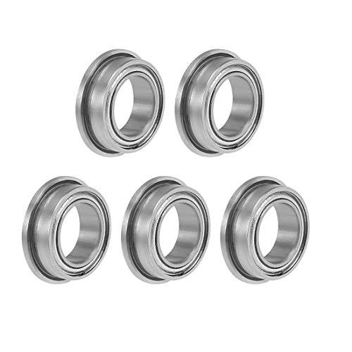 uxcell MF85ZZ Flange Ball Bearing 5x8x25mm Shielded Chrome Bearings 5pcs