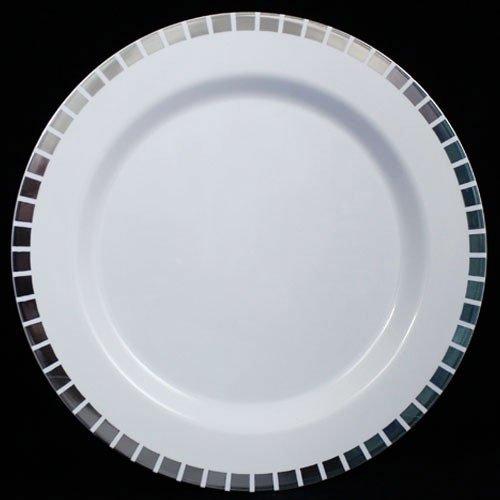 105 White Silver Slit Design Plates 10