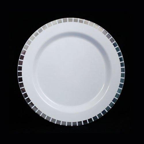 75 White Silver Slit Design Plates 10