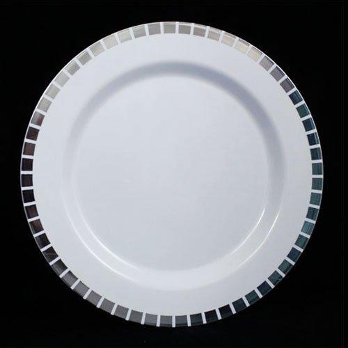 9 White Silver Slit Design Plates 10