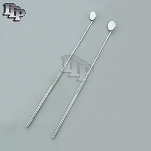 SET OF 2 LARYNGEAL BOILABLE HYGIENE DENTAL MIRRORS WITH HANDLE 2 5 DDP QUALITY