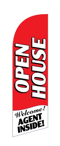 Open House Agent Inside Red Windless Stay-Open Feather Swooper Flag Banner Kit 8 Pole Set Metal Ground Spike