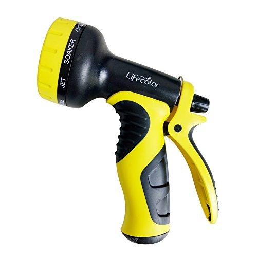 Lifecolor Garden Hose Nozzle 9-Pattern Flow Control Heavy Duty Spray Nozzle for Patio Lawn Garden Car Wash and Pets Showering