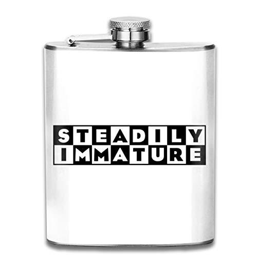 Steadily Immature Cartoon Network Logo Print Hip Flask Pocket Bottle Flagon 7oz Portable Stainless Steel Flagon
