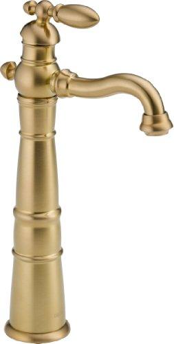 Delta Faucet 755LF-CZ Less Pop-Up Victorian Single Handle Centerset Bathroom Faucet with Riser Champagne Bronze