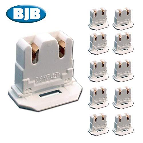 BJB LH0619 UL Listed Non-Shunted 26313101650 Slide On U-Lamp Holder Medium Bi-Pin Socket for Fluorescent Tube Light Replacement-Low Profile 10