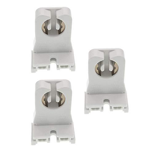 Non-shunted Turn Type T8 Lamp HolderTWDRTDD UL Socket Tombstone for T10 T12 LED Fluorescent Tube Replacement Medium Bi-pin G13 Socket for Programmed Start Ballasts Pack of 3