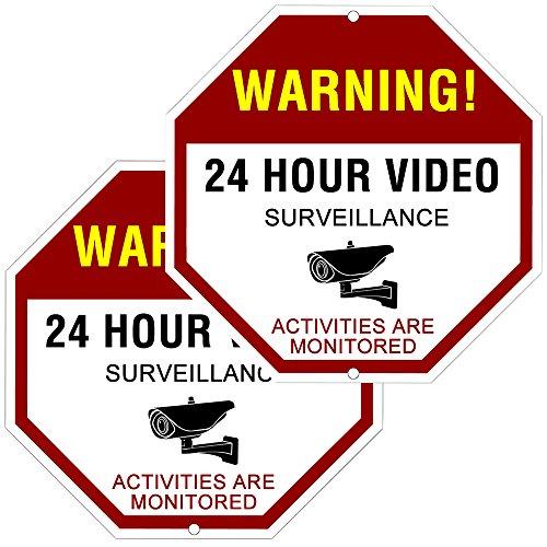 ATBAY Video Surveillance Sign Aluminum Waterproof Indoor Outdoor 24 Hours Security Alert Signs 12x12 OctagonPack of 2