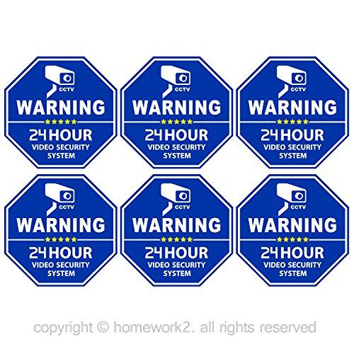 CCTV Video Surveillance Security Door Window Stickers Blue Octagon-Shaped 33 X 33 Inch Vinyl Decals - Indoor Outdoor Use UV Protected Waterproof - 6 Labels