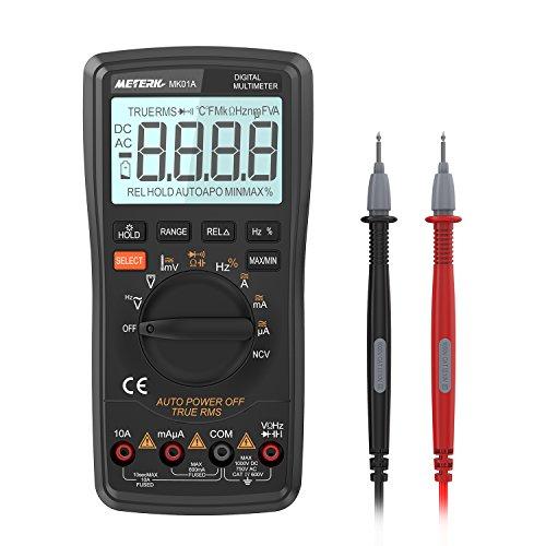 Meterk Digital Multimeter 6000 Counts True RMS Auto Range DMM NCV Detector DC AC Voltage Current Meter Live Line Tester Temperature HFE Measurement Continuity HZ Test