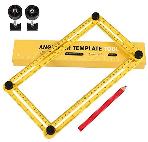 Ultra Nook Scale RulerMulti Angle Measuring Ruler Template Tool Flooring Measure Ruler and Layout Tools for CraftsmenHandymenBuildersCarpentersEngineersand DIY-ersYellow