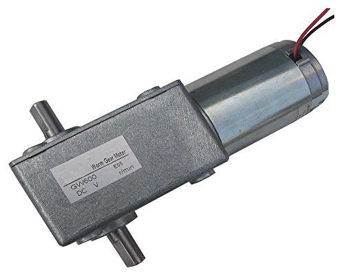 IRUI Turbine Worm Speed Reduction DC Brush Gear Motor 24V 22A 30RPM 60Kgcm Dual Shaft