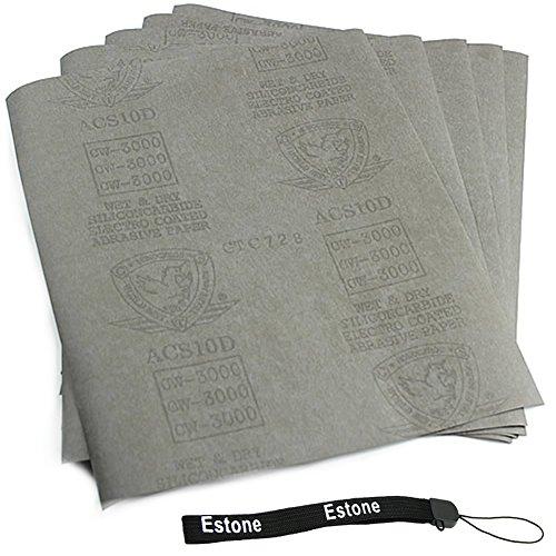 Estone 5 sheets Sandpaper 3000 Grit Waterproof Paper 9x11 WetDry Silicon Carbide
