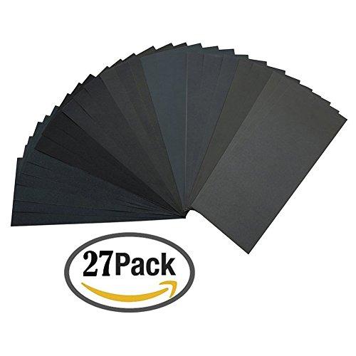 ZesGood Pack of 27 Sandpaper Abrasive DryWet Paper Sheets 400600800100012001500200025003000 Grit 9 x 36 for Furniture Hobbies and Home Improvement