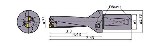 Mitsubishi Materials TAFL0750 TAFL Series Indexable Type Drill Internal Coolant 2 Inserts 4 Hole Depth 0750 Cutting Dia 1 Shank Dia