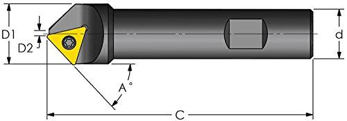 Ultra-Dex E45C-D188-1-750-3 Indexable Chamfer Mill to Hold 1 TCMT 3252 45 Degree Chamfer Angle 0972 Min Diameter 0188 Max Diameter No Coolant 0750 x 4000