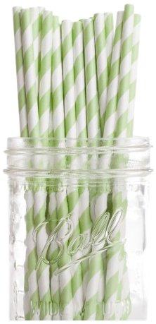 Dress My Cupcake Kiwi Green Striped Paper Straws 600-Pack