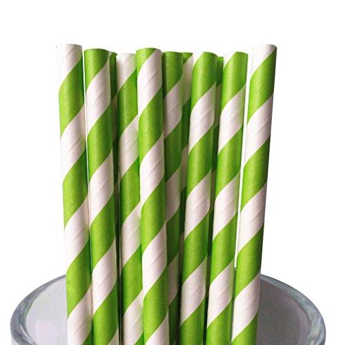 Free DHL 500 pcs Lime Green Striped Paper Straws Bulk Stripe Lime Green and White Paper Drinking Straws for Party Wedding Birthday Christmas Mason Jar Straws