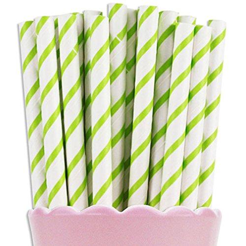 Free DHL 500 pcs Thin Lime Green Striped Paper Straws Bulk Stripe Lime and White Paper Drinking Straws for Party Wedding Birthday Mason Jar Straws