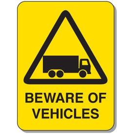Aluminum Mining Site Traffic Warning Sign - Beware Of Vehicles - 36h x 24w Yellow BEWARE OF VEHICLES