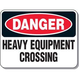 Aluminum Mining Site Traffic Warning Sign - Danger Heavy Equipment Crossing - 18h x 24w White DANGER HEAVY EQUIPMENT CROSSING