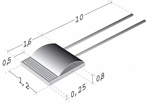 Innovative Sensor Technology- Platinum Temperature Sensor P0K11616WY010 100 ohm RTD component 16x12 mm -200°C to 600°C  13 DIN Pack of 20