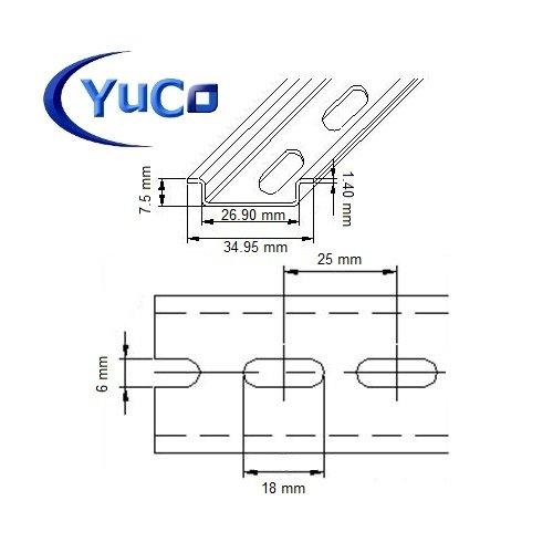 YC-DR-2m YuCo FACTORY CUT 2m STEEL SLOTTED DIN RAIL 35mm X 75mm PR005 ASI RoHS
