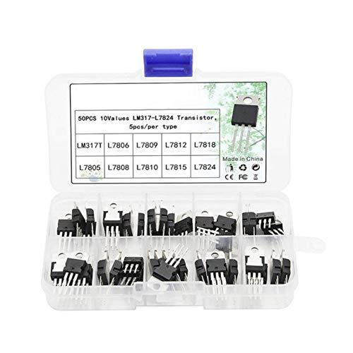 CloverUS 50pcs 10 Value Voltage Regulator Transistor Assortment Kit LM317T L7805 L7824