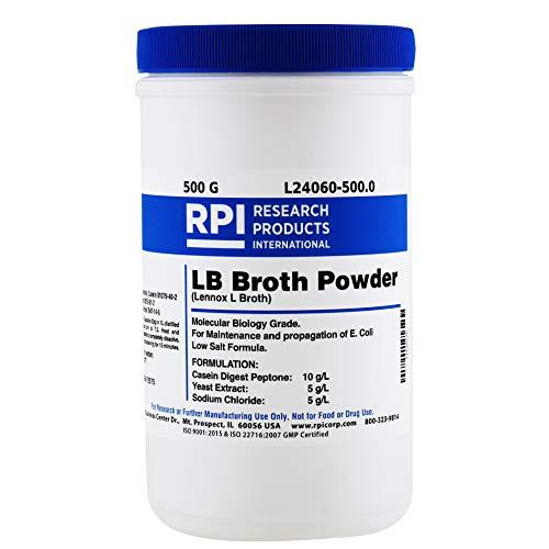RPI LB Broth Powder Lennox L Broth 500 Grams Low Salt Formula Powder Molecular Biology Grade for E Coli Microbial Cell Culture