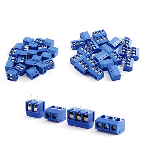 ZYAMY 50pcs KF301-2P3P PCB Panel Mount Screw Terminal Block Connector30pcs 2-Pin20pcs 3-Pin