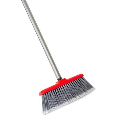 Fuller Brush Fiesta Red Kitchen Broom - Heavy Duty Floor Sweeper wExtendable Steel Handle Fine Long Bristles - Dust Sweeping For HomeCommercial Kitchen Warehouse Floors