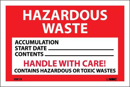 NMC HW19 Hazardous Waste Container Label HAZARDOUS WASTE 6 Width x 4 Height Pressure Sensitive Vinyl WhiteBlack on Red Pack of 25