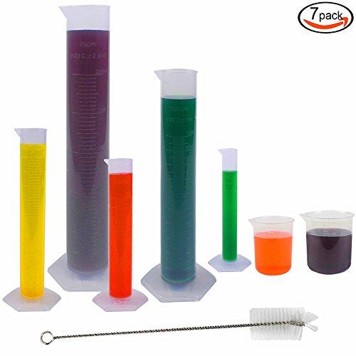 Rainbow-B 5 Pcs Clear Plastic Graduated Cylinder 10 25 50 100 250ml with 2 Plastic Beakers 1 Cylinder Brush